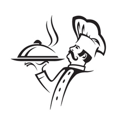 whiskered chef vector image