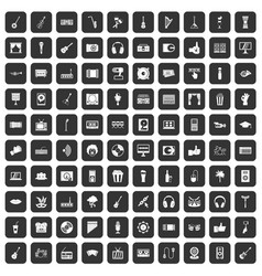 100 karaoke icons set black vector
