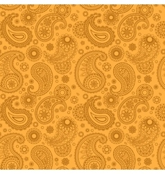Yellow color arabic paisley pattern vector