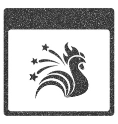 Sparkle rooster calendar page grainy texture icon vector