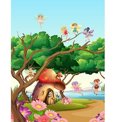 Fairies flying in the garden vector