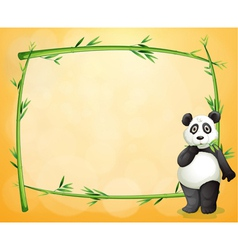 A panda standing at the right side of a bamboo vector