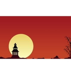 Silhouette of pavilion scenery collection vector