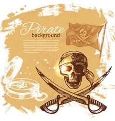 Pirate vintage hand drawn background vector