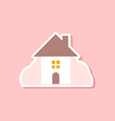 paper sticker on stylish background of house vector image