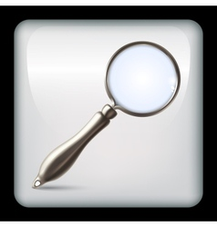 Icon with realistic magnifying glass vector