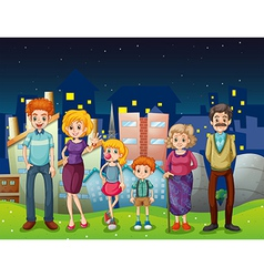 A happy family near the tall buildings in the city vector
