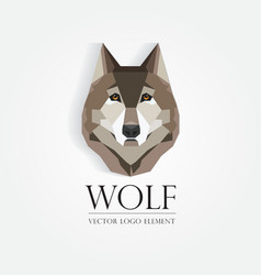 3d origami low polygon wolf vector