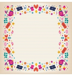 Happy birthday border lined paper card with space vector