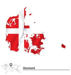 Map of denmark with flag vector