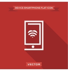 Smartphone flat contour with a heart logo icon vector