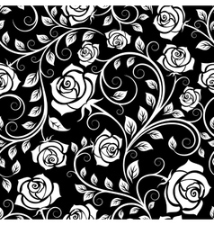 Vintage white roses seamless pattern vector