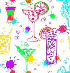 Colorful seamless pattern of cocktails vector