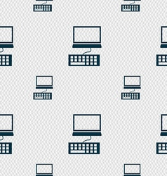 Computer monitor and keyboard icon seamless vector