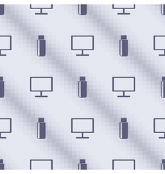 Pattern with flash drives and pc monitors vector