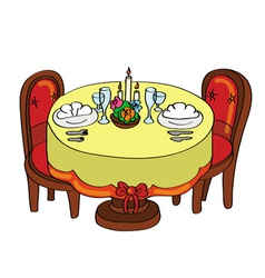 Romantic dinner table vector
