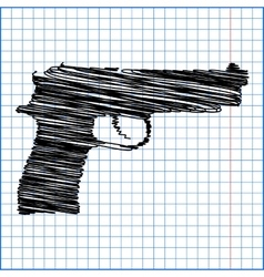 Gun isolated with pen effect on paper vector