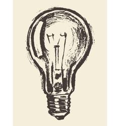 Drawn light bulb idea concept vintage vector