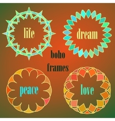 Colored indian circle ornaments vector