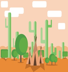 Abstract landscape design with green cactus trees vector