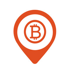 bitcoin map marker icon style is flat vector image vector image