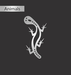 black and white style icon lizard reptile vector image