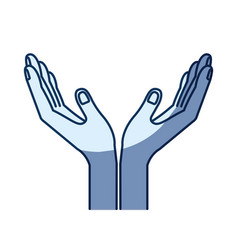 Blue color silhouette shading of opened hands of vector