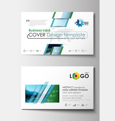 Business card templates flat design blue color vector