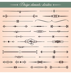 Calligraphic dividers and dashes vector image vector image