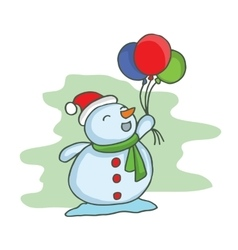 Cartoon christmas snowman with balloon vector