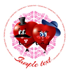 Cartoon of two loving hearts vector image