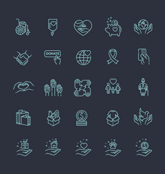 charity - modern line design icons and vector image