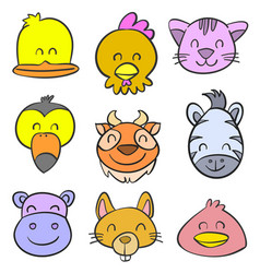 cute animal for kid of doodle style vector image vector image