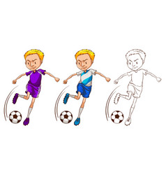 doodle character for soccer player vector image vector image