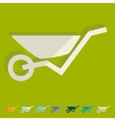 Flat design wheelbarrow vector image