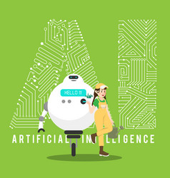 gardener and robot with ai mechanism vector image vector image