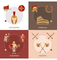 Gladiator Flat Set vector image