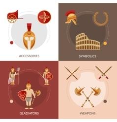 Gladiator flat set vector