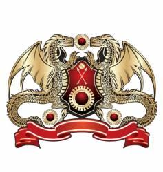 Heraldic dragon sign vector