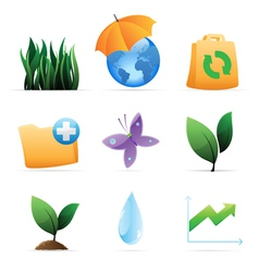 Icons for nature energy and ecology vector image vector image