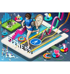 Isometric infographic with jogging woman vector