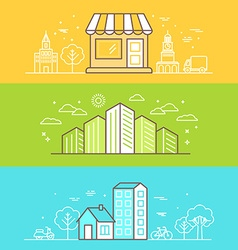Linear Buildings Icons vector image vector image