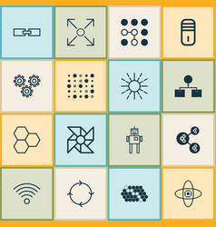 Machine icons set collection of algorithm vector