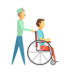 Male doctor pushing disabled man sitting on vector