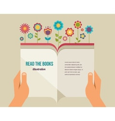 Open book with flowers flat icons vector image vector image