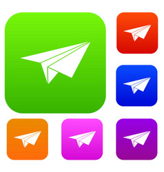 Paper plane set collection vector