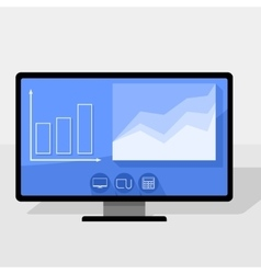 Pc with statistics chart vector image vector image