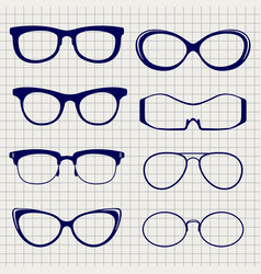pen eyeglasses collection on notebook page vector image