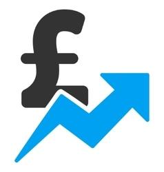 Pound Sales Growth Flat Icon Symbol vector image