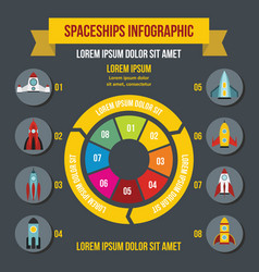 Rocket spaceships infographic concept flat style vector